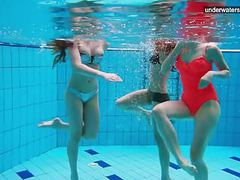 3 nude girls have fun in the water tubes