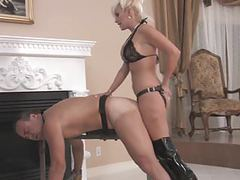 Sexy blonde mistress strapon fucks bound slave movies at freelingerie.us