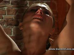 Pretty brunette tortured by cruel master. movies at freekiloclips.com