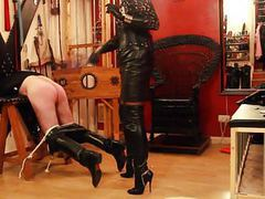 Tv mistress in thigh high leather boots clip