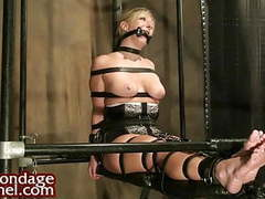 Young blond strapped in tight bondage movies