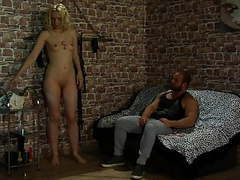 Pretty blonde pays her father's debt. tubes
