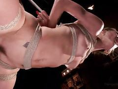 Hot blonde in tight bondage and fucked! tubes