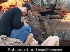 Submissive yenna spanked and mouth fucked in a rocky spot tubes