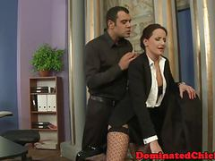 Smalltits babe dominated in the office movies at freekilomovies.com