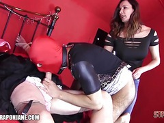 Femdom teaches sissys to lick boots suck cock cum in face videos