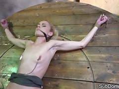 Gagged sub shaking after orgasm while bound movies