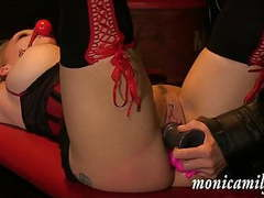 Monicamilf gets used hard and squirts over and over again tubes