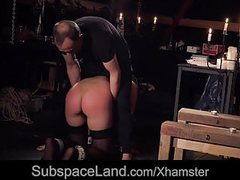 Bondage porn for busty slave performing oral sex under sub movies at kilogirls.com