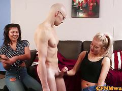 Cfnm femdoms tugging and paddling sub in trio movies at lingerie-mania.com