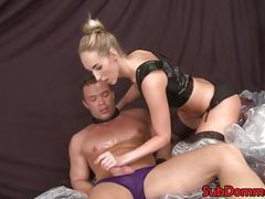 Blonde female dom rides muscle subs cock movies at freekiloporn.com