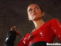 Two ladies in latex whipping tied up girl movies at freekiloporn.com