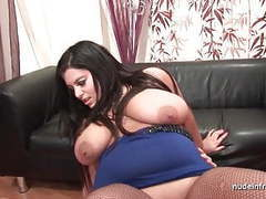 Casting of a huge boobed french bbw in fishnet stockings movies at sgirls.net