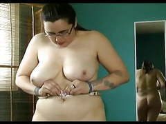 Chubby hairy pussy, hairy pits, big tits trys on lingerie tubes