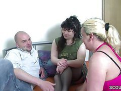 He get his first threesome with two german milf tubes