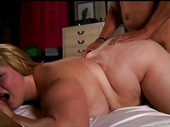 Beautiful big tits blonde bbw enjoys a hard fuck & a facial movies