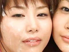 Two japanese cuties bukkake tubes at japanese.sgirls.net