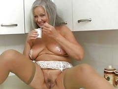 Horny grandma in kitchen movies at freekiloporn.com