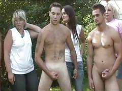 Cfnm 5 guy circle jerk for ladies in forest tubes