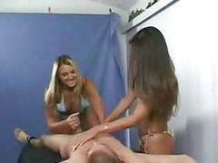 2 girls give bound guy cfnm handjob movies at freekilomovies.com