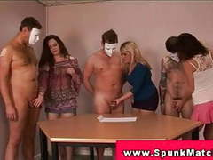 Cfnm handjob party with femdoms tugging to get cumshot tubes