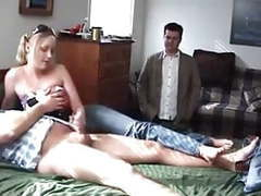 Cuck watches his wife jerking small dicked stranger videos