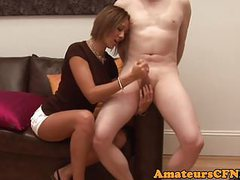 Cfnm european amateur wanks cock on the couch movies