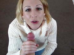 Pov cfnm blowjob and cum swallow as thanks for new sweater videos