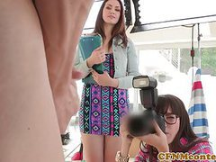 Cfnm femdom photographer ass fucks in trio movies at freekilomovies.com