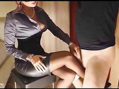 Tied sissy rubbing cock on mistress's nylons. movies at dailyadult.info