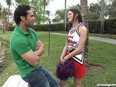 Slutty cheerleader gets one big creampie tubes