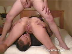 Cuckold eating his wife's lovers cum tubes