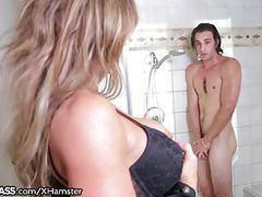 Slutty cougar surprises daughters boyfriend in shower movies at freekilomovies.com
