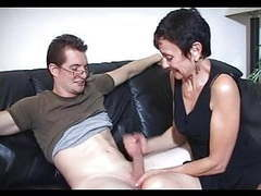 Mum marie makes his big cock cum tubes