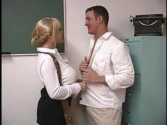 Mature blond with enormous breasts screwed by student in the classroom tubes
