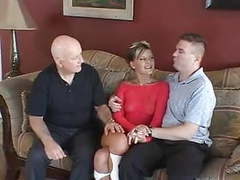Husband watches feisty blonde wife take cock on a couch tubes