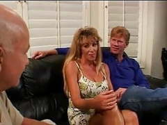 Blonde wife fucked, husband enjoys movies