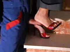 Red high heel mules movies