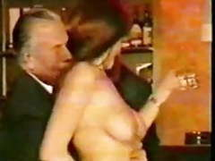 Older men in suits get  teased by mature bar  maid wear-tweed tubes
