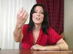 Hot milf boss makes you stroke your cock as she watches movies at freekilomovies.com