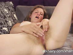 Shoshannah fingers her hairy pussy for an orgasm movies