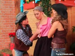 Cowgirls and farm girl in lesbian threesome movies at find-best-lesbians.com