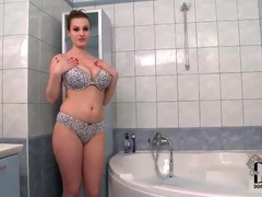 Leopard print lingerie is hot on busty babe movies at lingerie-mania.com