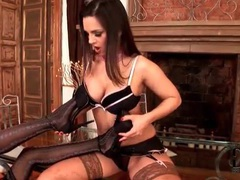 Patterned stockings are sexy on these two girls videos