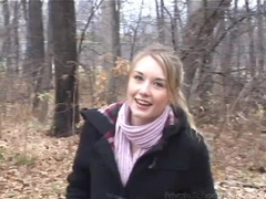 Skinny small tits teen flashes in the woods clip