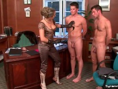 Naked men serve busty mistress in satin top movies at find-best-panties.com