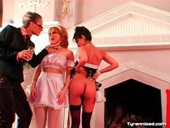 Two girls in uniform parade around for mistress videos
