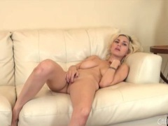 Big tits and sexy legs on solo naked blonde videos