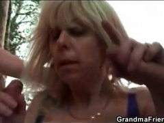 Outdoor threesome stars curvy mature blonde clip