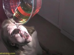 Whore licks her piss up off the floor videos